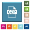 GZIP file format white icons on edged square buttons - GZIP file format white icons on edged square buttons in various trendy colors