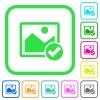 Image ok vivid colored flat icons - Image ok vivid colored flat icons in curved borders on white background