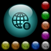 Online Bitcoin payment icons in color illuminated glass buttons - Online Bitcoin payment icons in color illuminated spherical glass buttons on black background. Can be used to black or dark templates
