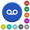 Voicemail beveled buttons - Voicemail round color beveled buttons with smooth surfaces and flat white icons