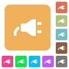 Power plug rounded square flat icons - Power plug flat icons on rounded square vivid color backgrounds.