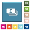 Pound banknotes white icons on edged square buttons - Pound banknotes white icons on edged square buttons in various trendy colors
