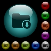 Move down directory icons in color illuminated glass buttons - Move down directory icons in color illuminated spherical glass buttons on black background. Can be used to black or dark templates