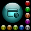 Delete credit card icons in color illuminated glass buttons - Delete credit card icons in color illuminated spherical glass buttons on black background. Can be used to black or dark templates