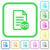 Document attachment vivid colored flat icons - Document attachment vivid colored flat icons in curved borders on white background