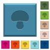 Mushroom engraved icons on edged square buttons in various trendy colors - Mushroom engraved icons on edged square buttons