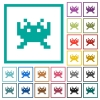 Video game flat color icons with quadrant frames on white background - Video game flat color icons with quadrant frames