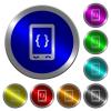 Mobile software development luminous coin-like round color buttons - Mobile software development icons on round luminous coin-like color steel buttons
