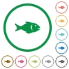 Fish flat icons with outlines - Fish flat color icons in round outlines on white background