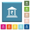 Indian Rupee bank office white icons on edged square buttons - Indian Rupee bank office white icons on edged square buttons in various trendy colors