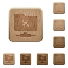 FTP tools wooden buttons - FTP tools on rounded square carved wooden button styles