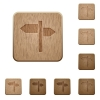 Signpost wooden buttons - Signpost on rounded square carved wooden button styles