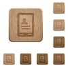 Mobile contacts wooden buttons - Mobile contacts on rounded square carved wooden button styles