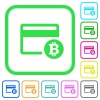 Bitcoin credit card vivid colored flat icons - Bitcoin credit card vivid colored flat icons in curved borders on white background