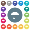 Umbrella flat white icons on round color backgrounds - Umbrella flat white icons on round color backgrounds. 17 background color variations are included.