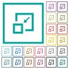 Shrink window flat color icons with quadrant frames - Shrink window flat color icons with quadrant frames on white background