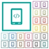Mobile scripting flat color icons with quadrant frames - Mobile scripting flat color icons with quadrant frames on white background