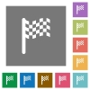 Race flag square flat icons - Race flag flat icons on simple color square backgrounds