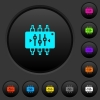 Chip tuning dark push buttons with color icons - Chip tuning dark push buttons with vivid color icons on dark grey background