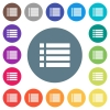 Unordered list flat white icons on round color backgrounds - Unordered list flat white icons on round color backgrounds. 17 background color variations are included.