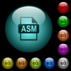 ASM file format icons in color illuminated spherical glass buttons on black background. Can be used to black or dark templates - ASM file format icons in color illuminated glass buttons