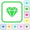 Diamond vivid colored flat icons - Diamond vivid colored flat icons in curved borders on white background