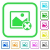 Cancel image operations vivid colored flat icons - Cancel image operations vivid colored flat icons in curved borders on white background