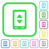 Mobile adjust settings vivid colored flat icons - Mobile adjust settings vivid colored flat icons in curved borders on white background