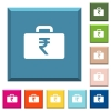 Indian Rupee bag white icons on edged square buttons - Indian Rupee bag white icons on edged square buttons in various trendy colors