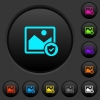 Protected image dark push buttons with color icons - Protected image dark push buttons with vivid color icons on dark grey background