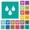 Water drops square flat multi colored icons - Water drops multi colored flat icons on plain square backgrounds. Included white and darker icon variations for hover or active effects.