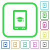 Mobile learning vivid colored flat icons - Mobile learning vivid colored flat icons in curved borders on white background