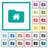 Home folder flat color icons with quadrant frames - Home folder flat color icons with quadrant frames on white background