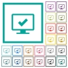 Accept display settings flat color icons with quadrant frames - Accept display settings flat color icons with quadrant frames on white background