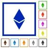 Ethereum digital cryptocurrency flat framed icons - Ethereum digital cryptocurrency flat color icons in square frames on white background