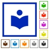 Library flat framed icons - Library flat color icons in square frames on white background