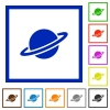 Planet flat framed icons - Planet flat color icons in square frames on white background