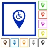 Disability accessibility GPS map location flat framed icons - Disability accessibility GPS map location flat color icons in square frames on white background