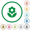 Flower flat color icons in round outlines on white background - Flower flat icons with outlines