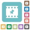 Pin movie rounded square flat icons - Pin movie white flat icons on color rounded square backgrounds