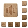 Left audio channel wooden buttons - Left audio channel on rounded square carved wooden button styles