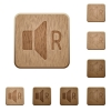 Right audio channel wooden buttons - Right audio channel on rounded square carved wooden button styles