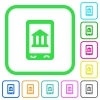 Mobile banking vivid colored flat icons - Mobile banking vivid colored flat icons in curved borders on white background