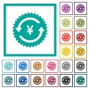 Yen pay back guarantee sticker flat color icons with quadrant frames - Yen pay back guarantee sticker flat color icons with quadrant frames on white background
