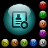 Send message to contact person icons in color illuminated glass buttons - Send message to contact person icons in color illuminated spherical glass buttons on black background. Can be used to black or dark templates