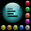 Text align left icons in color illuminated glass buttons - Text align left icons in color illuminated spherical glass buttons on black background. Can be used to black or dark templates