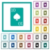 Ten of spades card flat color icons with quadrant frames - Ten of spades card flat color icons with quadrant frames on white background