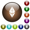 Ethereum classic digital cryptocurrency color glass buttons - Ethereum classic digital cryptocurrency white icons on round color glass buttons