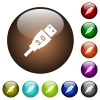 High speed USB color glass buttons - High speed USB white icons on round color glass buttons