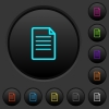 Single Document dark push buttons with color icons - Single Document dark push buttons with vivid color icons on dark grey background